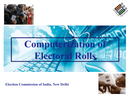 Electoral Roll Data Entry & Computerization of Electoral Rolls
