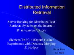 Distributed Information Retrieval