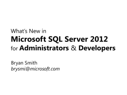 What's New in Microsoft SQL Server 2012 for Administrators