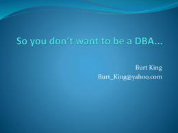 So you don't want to be a DBA