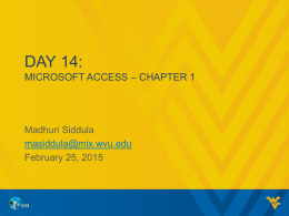 Day 14:MICROSOFT access – CHAPTER 1