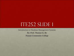 ITE252 Slide 1 - Nassau Community College