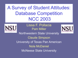 A Survey of Student Attitudes: Database Competition NCC 2003