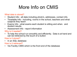 More Info on CMIS
