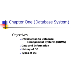 Relational DBMS - Frostburg State University