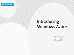 Migration to Windows Azure