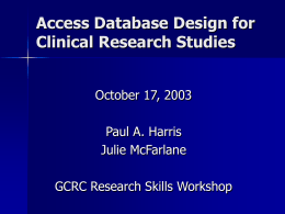 Clinical Database Design