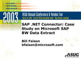 SAP .NET Connector: Case Study on Microsoft SAP BW Data Extract