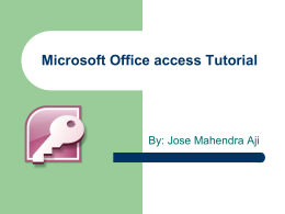 Microsoft Office access tutorial