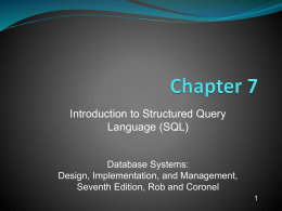 Introduction to SQLR7