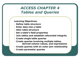 ACCESS CHAPTER 4 Tables and Queries Learning Objectives