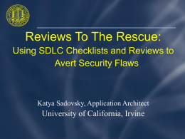 Using SDLC Checklists and Reviews To Avert Security