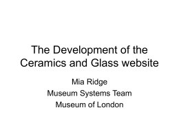 The Development of the Ceramics and Glass website