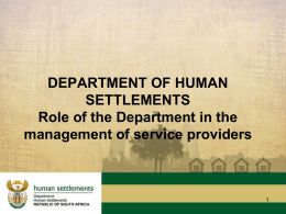 Role of the Department in the management of service providers