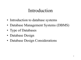 1. Introduction to Database