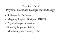 Chapter 9 Physical Database Design Methodology