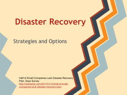 Disaster Recovery - Spatial Database Group