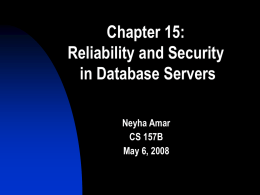 Reliability and Security by Neyha Amar (5/06)