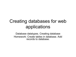 Datatypes. Creating tables. Show bookmark sites application.