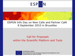 Call for Proposals within the ESPON Scientific Platform