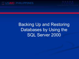 Backing Up and Restoring Databases by Using the - RBAP-MABS