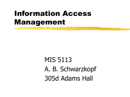 Information Access Management MIS 5113 A. B. Schwarzkopf