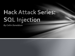 Hack Attack Series: SQL Injection