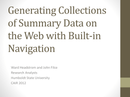 Generating Collections of Summary Data on the Web with Built