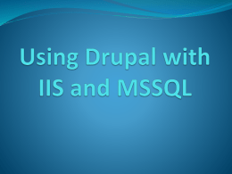 Using Drupal with IIS and MSSQLx