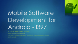 Mobile Software Development for Android