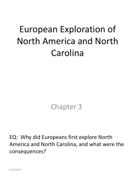European Exploration of North America and North Carolina