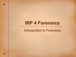 IRP 4 Forensics