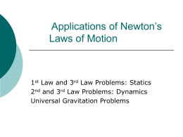 Applications of Newton's Laws of Motion
