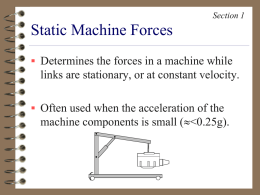 Static Machine Forces - University of Dayton