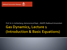 Gas Dynamics, Lecture 1 (Introduction & Basic Equations)