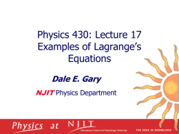 Examples of Lagrange`s Equations