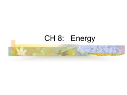 Chap. 8 Work, Power, Energy