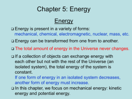 Lecture 5: Energy