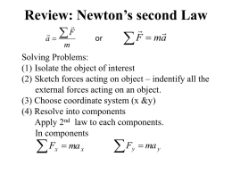 Review: Newton`s second Law