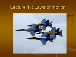 Lecture 11: Laws of motion - Sonoma Valley High School