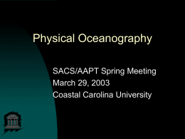 Physical Oceanography - SACS-AAPT