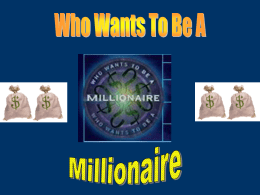 Speed, Velocity, Acceleration Review Millionaire