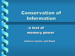 Conservation of Information