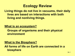 Ecology Teacher Notes