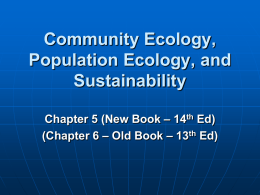 Ecological Perspective BIOL 346/Ch 5 (14th New Ed) (Ch 6 Old Ed)