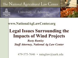LIMITING WIND FARM LIABILITY - Department of Agricultural