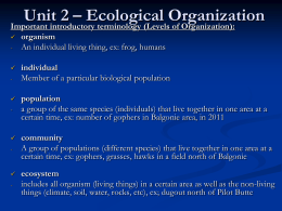 Unit 2 - Ecological Organizations - part 1