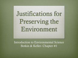 Justifications for Preserving the Environment