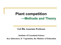 Plant competition Methods and Theory