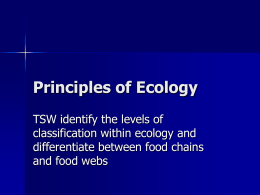 Principles of Ecology - Mrs. Jacob's Science Class